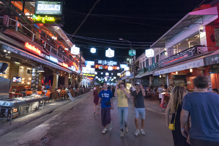 outsider: Siem Reap, Cambodia - 6 DEC 2015: Pub Street in Siem Reap, the most popular place for outsider.