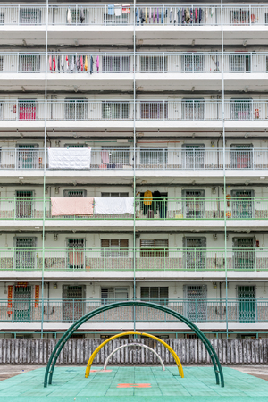 Special design building in Nam Shan Estate, Hong Kong Stock fotó
