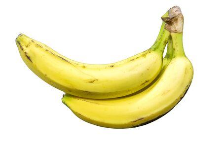 Isolated three yellow banana sitting alone Stock Photo