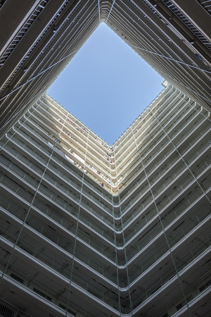 In a square building center look up