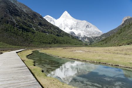 Tibet snow mountain with river in China