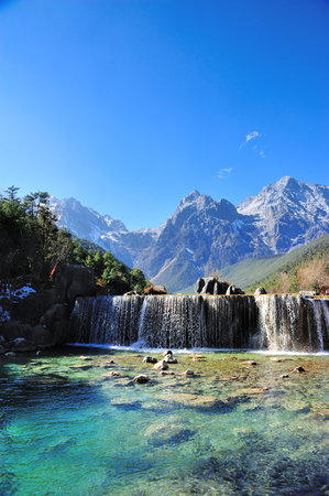 Blue Moon Valley in Yulong Snow Mountain 免版税图像