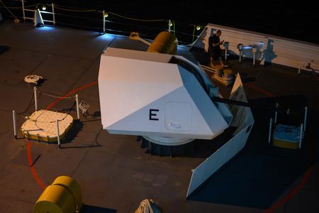 Tsim Sha Tsui, Hong Kong - Apr 15, 2019: USCGC Bertholf visiting Hong Kong. Docking on Ocean Terminal.