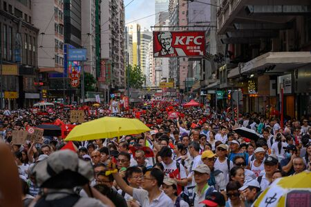 HONG KONG - June 9, 2019: Hong Kong June 9 protect with million of people on the street.