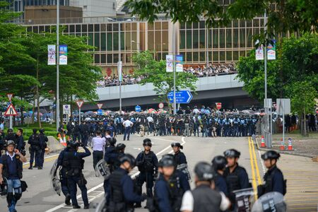 HONG KONG - June 12, 2019: Anti-Extradition Bill Protest in Hong Kong. Protestors are surrounding HK Legislative Council building to stop the bill.