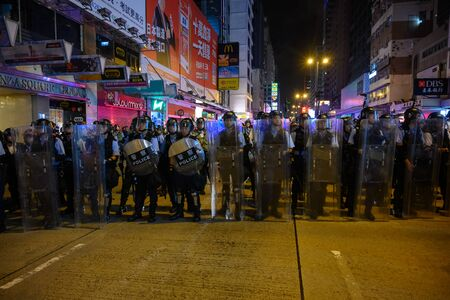 Hong Kong- July 7 2019: Hong Kong anti-extradition protests. 50,000 protesters took to the streets of kowloon on Sunday to oppose a controversial extradition. Éditoriale