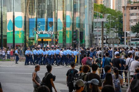 Tuen Mun, Hong Kong - July 6 2019: the crowd protest and occupy the Tuen Mun public park. The protesters took to the streets of Hong Kong to oppose a controversial extradition bill. Editorial