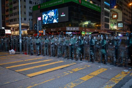 Hong Kong - Aug 3, 2019: Hong Kong August 3 protest which is rejected by police force. Police swearing Street in mong kok.