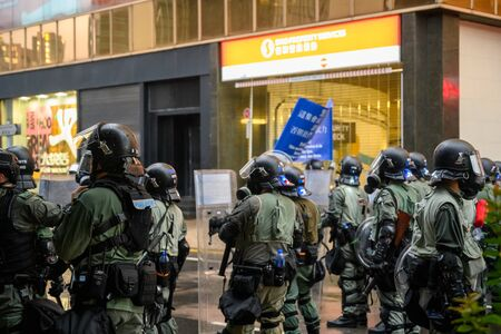 Hong Kong - Aug 31, 2019: Protest against extradition law in Hong Kong turned into another police conflict. Police use tear gas against protestors.