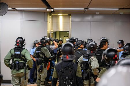 Hong Kong - Aug 31, 2019: Protest against extradition law in Hong Kong turned into another police conflict. Police enter MTR Station in Hong Kong and soon turn into another conflict