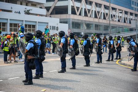 Hong Kong - Aug 24, 2019: Protest in Kwun Tong, Hong Kong against surveillance tower.