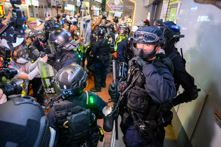 Hong Kong - Aug 31, 2019: Protest against extradition law in Hong Kong turned into another police conflict.
