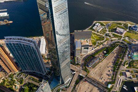 Aerial panoramic view of Western Kowloon, Hong Kong