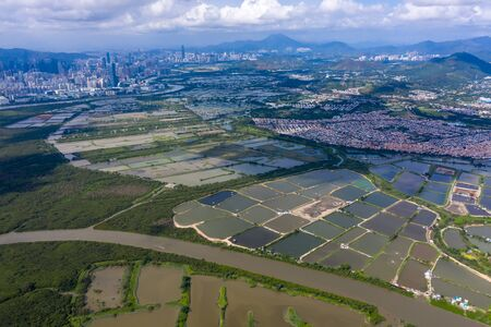 Aerial view of Yeun Long and nearby, New Territories Hong Kong 免版税图像
