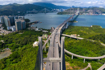 City Top View of Skyscrapers Building by drone Hong Kong city - Aerial view cityscape flying above Hong Kong City development buildings 免版税图像