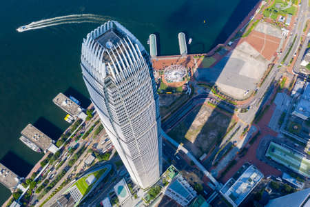 City Top View of Skyscrapers Building by drone Hong Kong city - Aerial view cityscape flying above Hong Kong City development buildings 新闻类图片