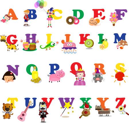 payasos caricatura: abc alfabeto conjunto Ilustraci�n