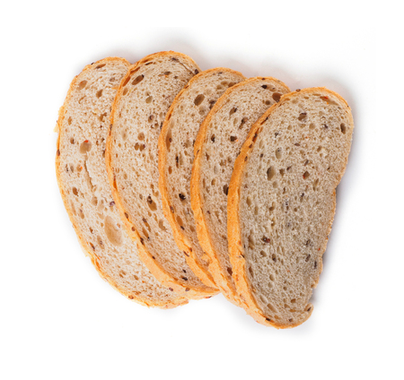 sunflower seeds: Bread with cereals seeds. isolated.