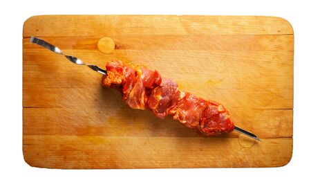 marinade: pork shish kebab on the cutting board Stock Photo