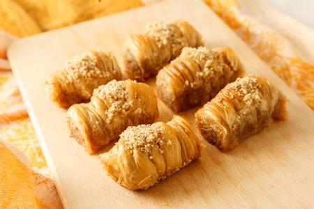 baklava: Turkish traditional delicious baklava on the desk.