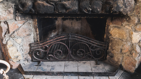 old stone fireplace. Old stone fireplace in the hunter house  Large Stone Fireplace Stock Photos Royalty Free