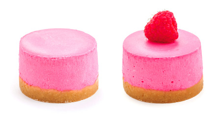 Pink berry round cheesecake. white isolated background.