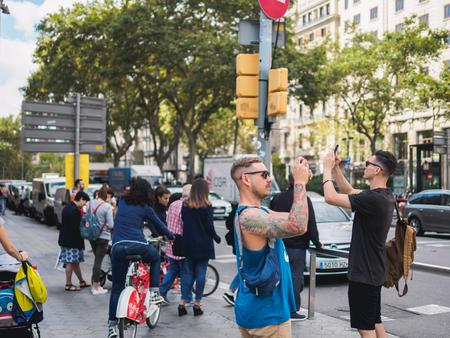BARCELONA, SPAIN - SEPTEMBER 20, 2017: Everyday Life In tourist center of Barcelona City Catalonia.