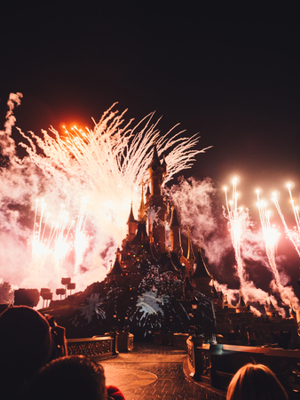 PARIS, FRANCE - JANUARY 18, 2017:  Fireworks in Disneyland at the night.