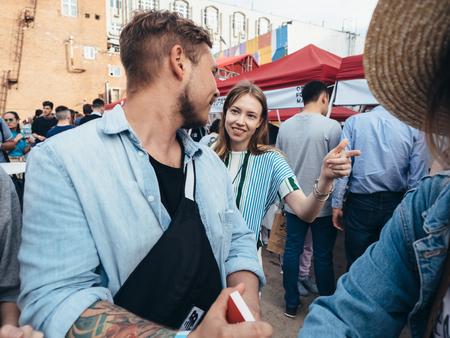 KAZAN, RUSSIA - MAY 19, 2018. Open Food Market - street food festival on Spartacus factory.