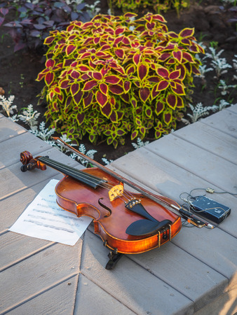 electronic violin on the wooden desks with flowers. Imagens - 116813540