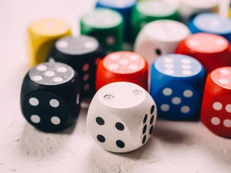 Color classic dices cubes.