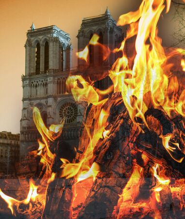 Notre Dame fire. Paris cathedral devastated by blaze. Stockfoto - 128702364