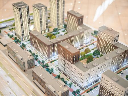KAZAN, RUSSIA - MAY 5, 2019. Layout miniature of residential complex My Rhuthm in MEGA mall.