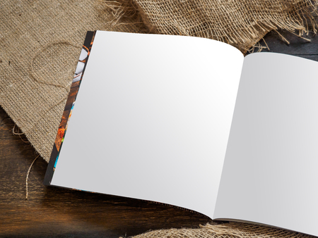 Mockup of restaurant cafe menu book on wood boards. Rustic style. Stok Fotoğraf