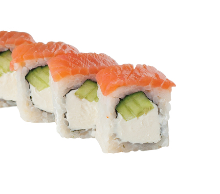 Japan rolls with rice salmon cream cheese. isolated.