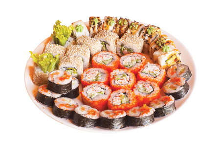 Set of japanese rolls sushi on plate. isolated.