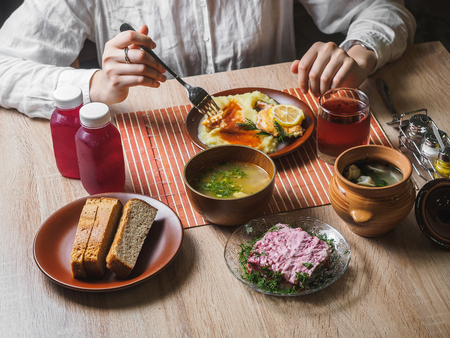 Russian ukrainian dinner food in cafeteria cafe table. Stok Fotoğraf