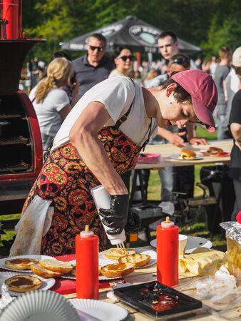 KAZAN, RUSSIA - MAY 11, 2019. BBQ festival The Grill-fest in Gorkinskoye-Ometyevsk forest.
