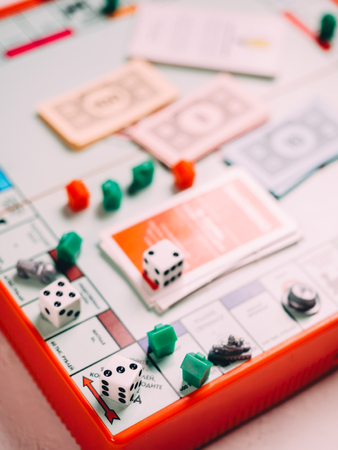 Classic business  board game with dices and field.