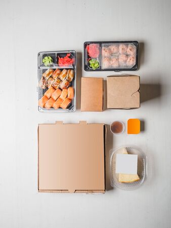 Set of delivery food on white Stockfoto