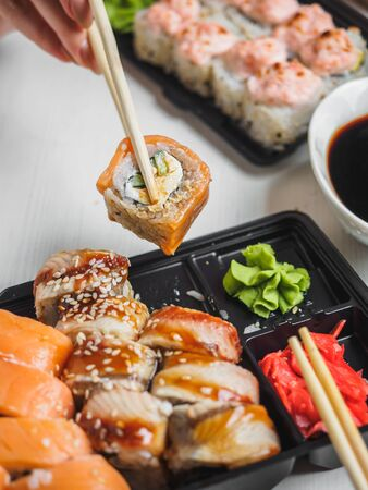 Japanese food sushi roll with raw fish and rice