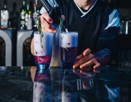 Bartender making alcohol cocktails with ice and rosemary at the bar. Stockfoto