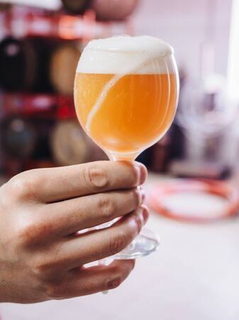 Glass of beer in male hand at the brewery factory.