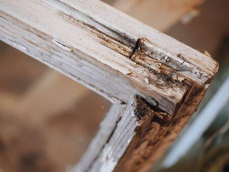 Old dirt rotten wooden retro white window.