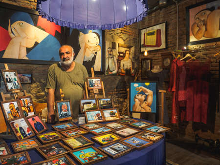 Tbilisi, Georgia - May, 2019. Temuri Kuliani's painting shop in old center of Tbilisi.