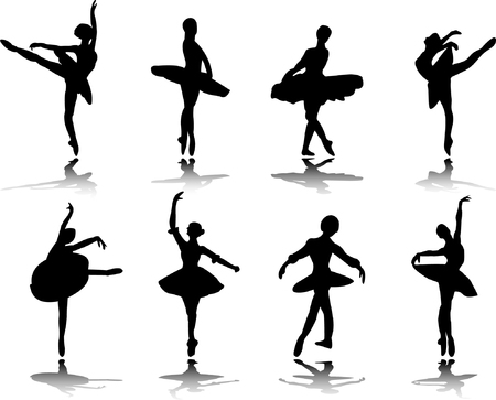 collection of ballerinas with reflection silhouette  Vector
