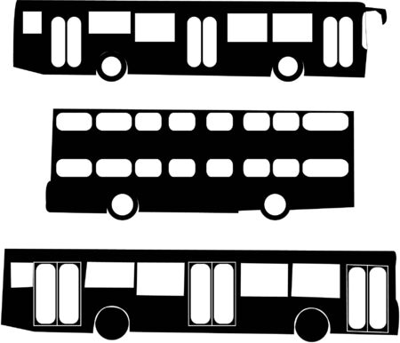 tourist bus silhouettes   Vector