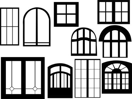 window collection silhouette  Vector