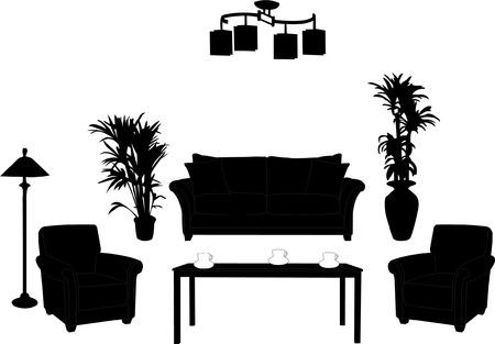furnishing: woonkamer design silhouet Stock Illustratie