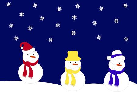 snowman on snow Vector